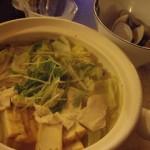 タイスキソースで食べるあっさり鍋とはまぐりの酒蒸し